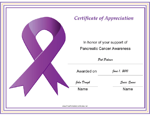 Pancreatic Cancer Awareness Ribbon certificate