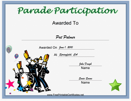 Parade Participation certificate