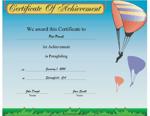 Paragliding certificate