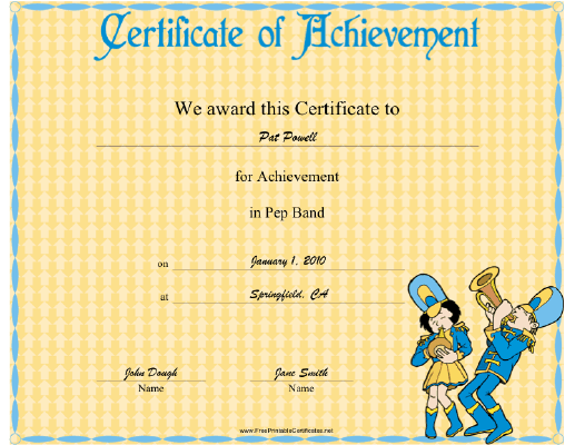 Pep Band certificate