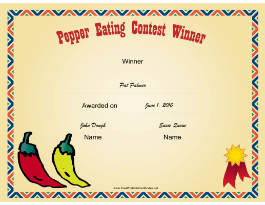 Pepper Eating certificate