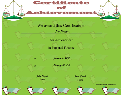 Personal Finance certificate