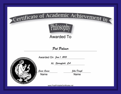 Philosophy Academic certificate