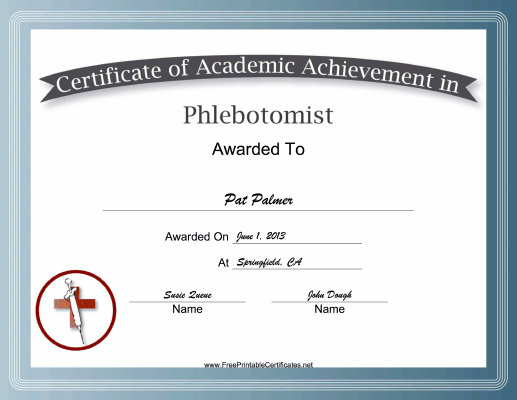 Phlebotomist Academic certificate