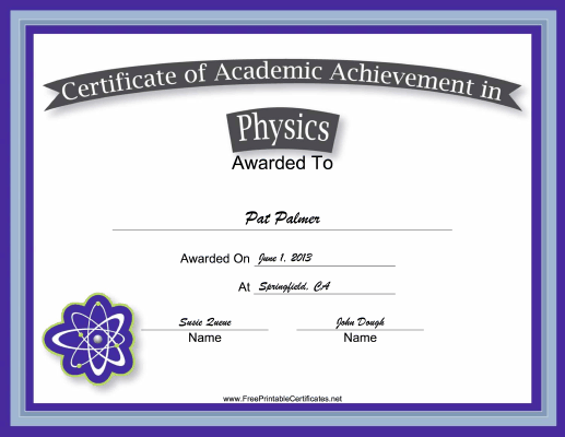 Physics Academic certificate