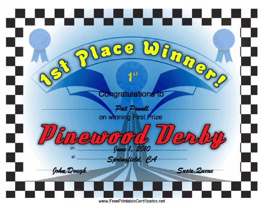 Pinewood Derby 1st Place certificate
