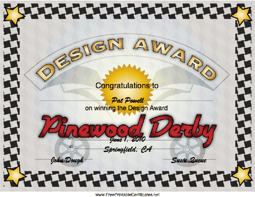 Pinewood Derby Design Award certificate