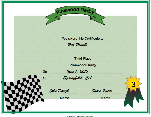 Pinewood Derby Third Place certificate