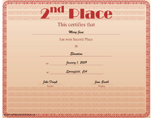 2nd Place certificate