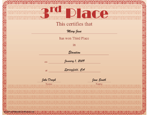 3rd Place certificate