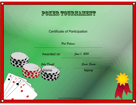 Poker Tournament Participant certificate