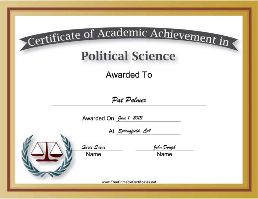 Political Science Academic certificate