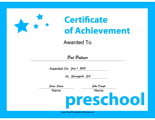 Preschool Achievement certificate