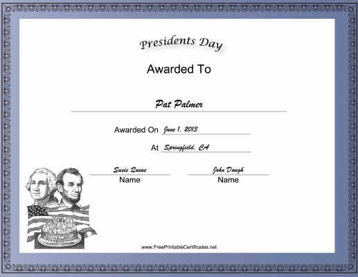 Presidents Day Holiday certificate