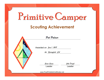 Primitive Camper Badge certificate