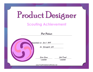 Product Designer Badge certificate