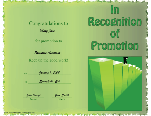 Certificate to Recognize Promotion certificate