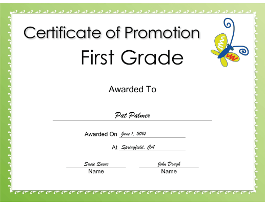 First Grade Promotion certificate