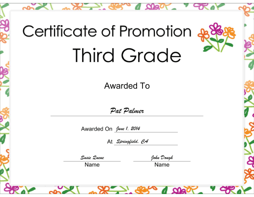 Third Grade Promotion certificate