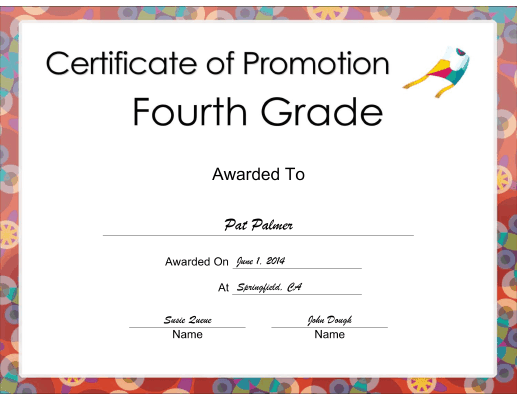 Fourth Grade Promotion certificate