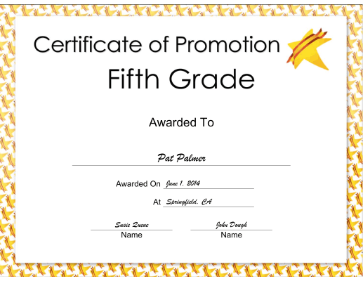 Fifth Grade Promotion certificate