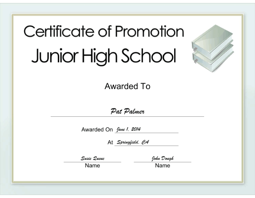 Junior High School Promotion certificate