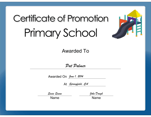 Primary School Promotion certificate