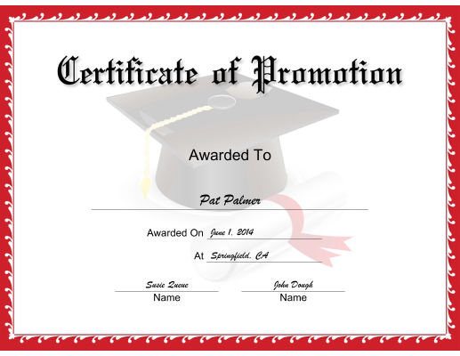 Red Promotion certificate