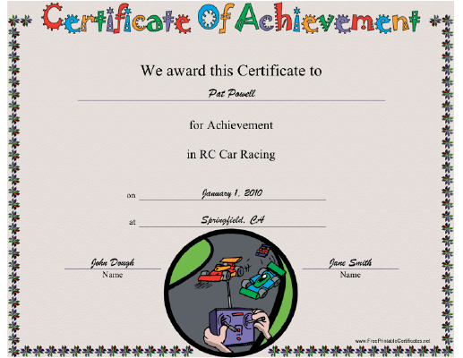 RC Car Racing certificate
