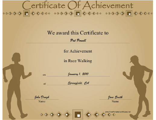 Race Walking certificate