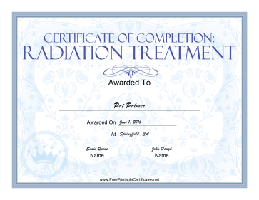 Radiation Treatment certificate