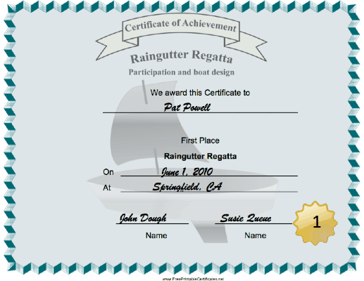 Raingutter Regatta First Place certificate