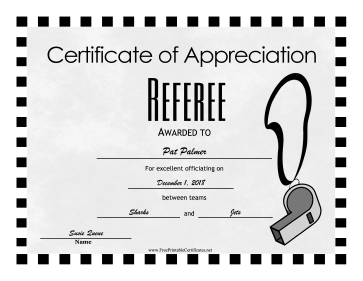 Referee Award certificate