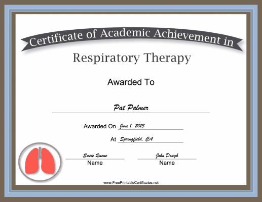 Respiratory Therapy Academic certificate