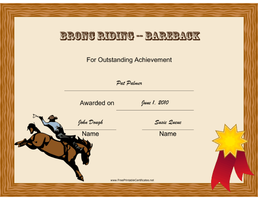 Rodeo Bronc Riding Bareback certificate
