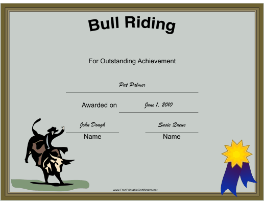 Rodeo Bull Riding certificate