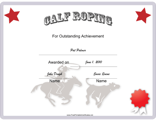 Rodeo Calf Roping certificate