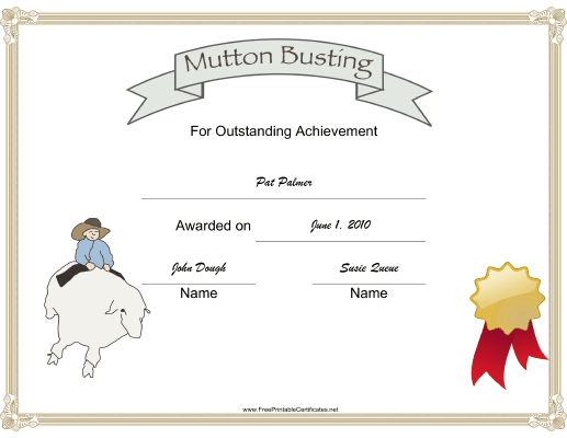 Rodeo Mutton Busting certificate