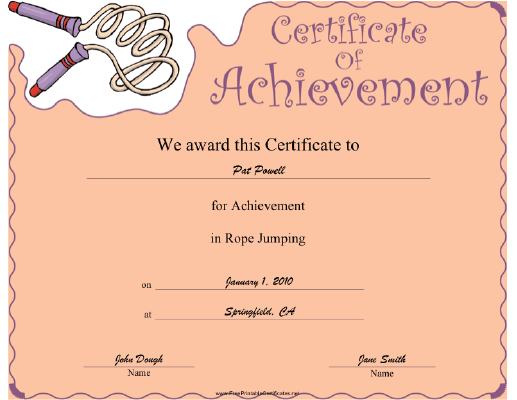 Rope Jumping certificate