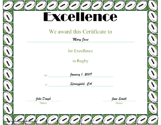 Excellence in Rugby certificate