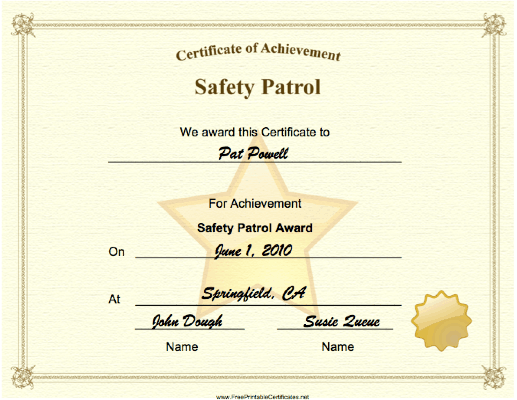 Safety Patrol Achievement certificate
