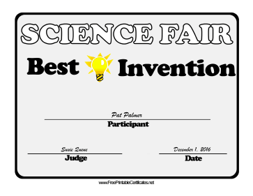 Science Fair Best Invention certificate