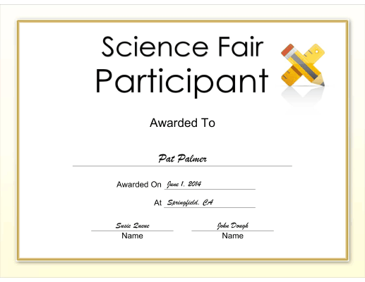 Science Fair Participant certificate