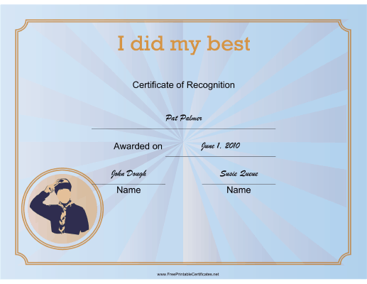 Scout I Did My Best certificate
