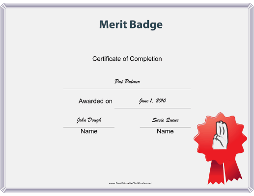 Scout Merit Badge certificate