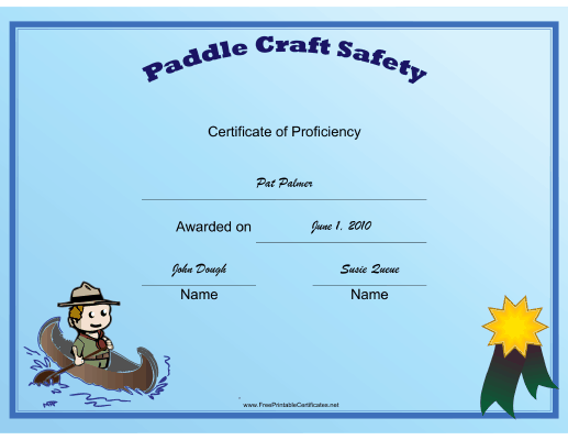 Scout Paddle certificate