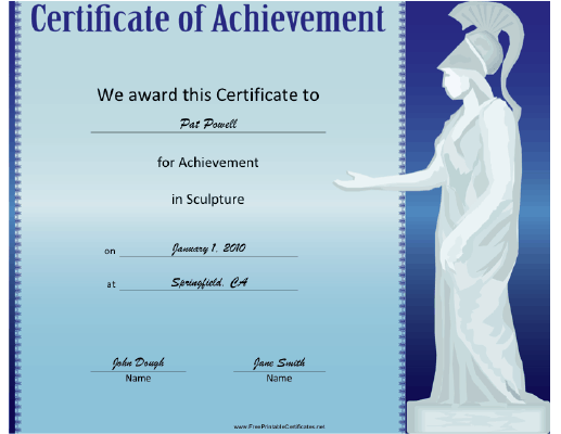 Sculpture certificate