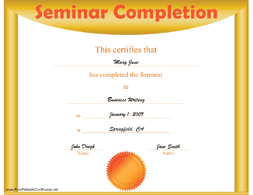 Seminar Completion certificate