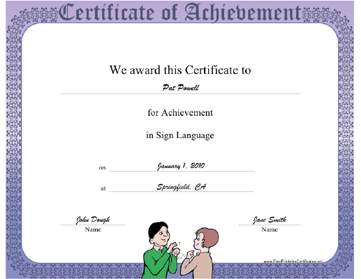 Sign Language certificate