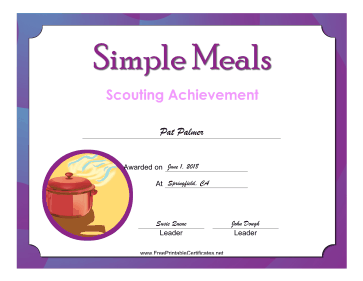 Simple Meals Badge certificate